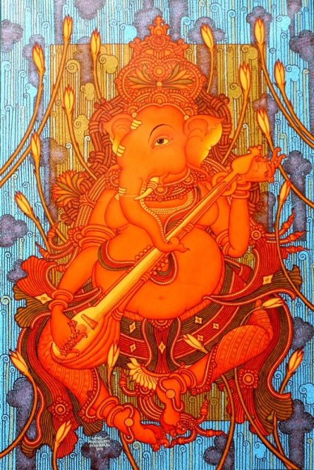 Figurative Acrylic Art Painting title 'Ganesha Playing Veena' by artist Manikandan Punnakkal