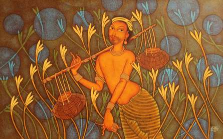 Figurative Acrylic Art Painting title 'Fisherman' by artist Manikandan Punnakkal