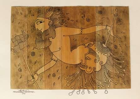 Palm Leaf Art V | Drawing by artist Manikandan Punnakkal | | ink | Leaf