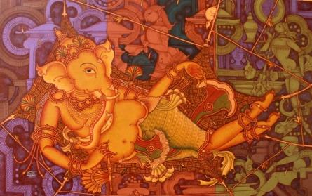 Figurative Acrylic Art Painting title 'Ganesha Resting Mode' by artist Manikandan Punnakkal