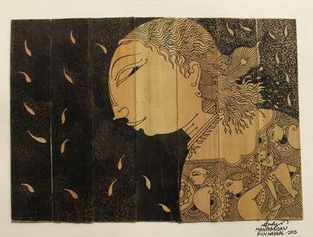 Palm Leaf Art VIII | Drawing by artist Manikandan Punnakkal |  | ink | Leaf