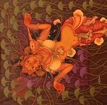 Lady Playing Veena   Painting by artist Manikandan Punnakkal   acrylic   Canvas