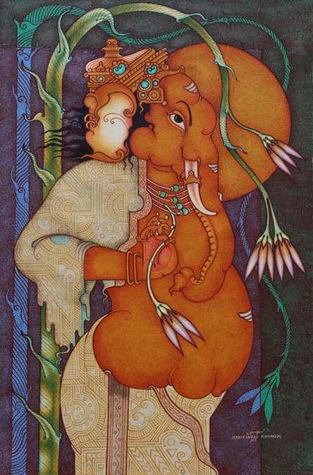Religious Acrylic Art Painting title Ganesha 1 by artist Manikandan Punnakkal