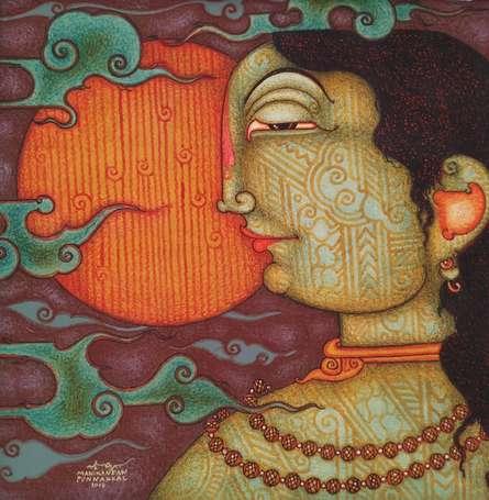 Figurative Acrylic Art Painting title 'Siddharth' by artist Manikandan Punnakkal