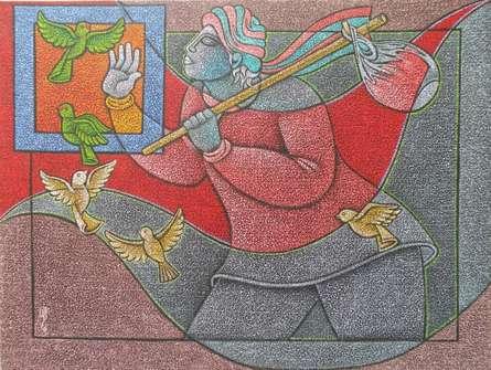 Figurative Acrylic Art Painting title 'Bird Watcher' by artist Satyajeet Shinde