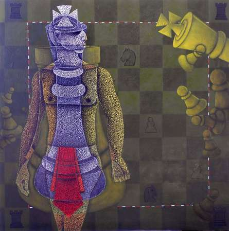 Figurative Acrylic Art Painting title 'Chess King' by artist Satyajeet Shinde