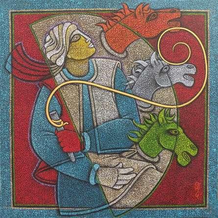 Satyajeet Shinde | Acrylic Painting title Horse Rider II on Canvas | Artist Satyajeet Shinde Gallery | ArtZolo.com