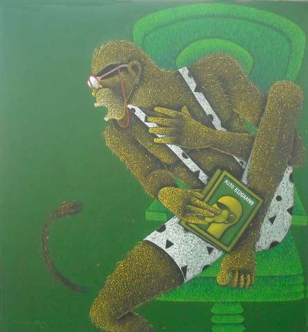 Man With Biography | Painting by artist Satyajeet Shinde | acrylic | Canvas