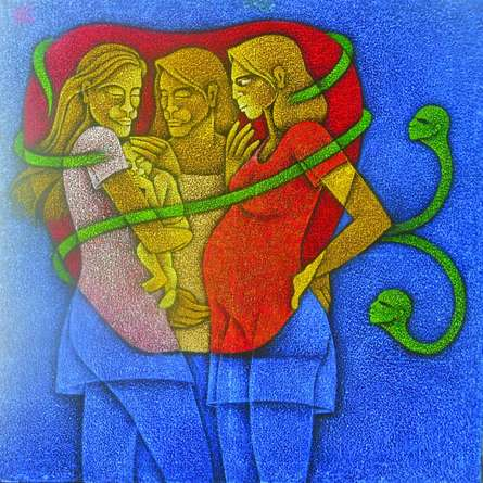 Figurative Acrylic Art Painting title Motherhood by artist Satyajeet Shinde