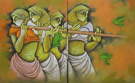 Figurative Acrylic Art Painting title Music III by artist Satyajeet Shinde