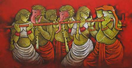 Figurative Acrylic Art Painting title 'Music IV' by artist Satyajeet Shinde