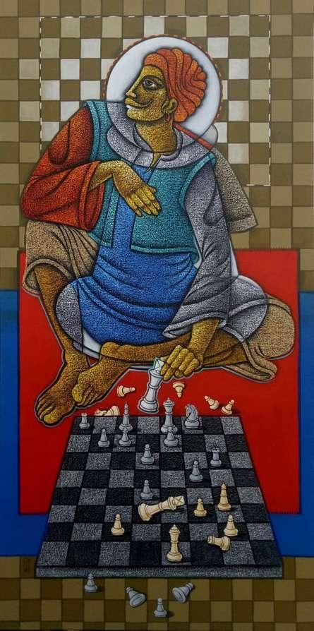 Figurative Acrylic Art Painting title The Making King by artist Satyajeet Shinde