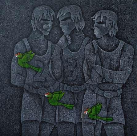 Winners Podium   Painting by artist Satyajeet Shinde   acrylic   Canvas