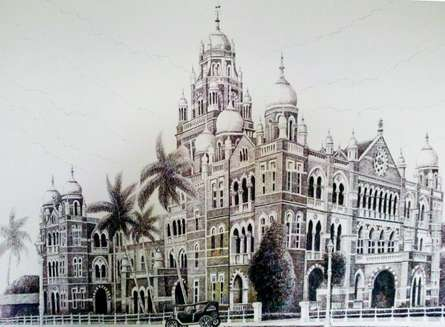 Cityscape Ink Art Drawing title 'Churchgate W Rly Bldg' by artist Aman A