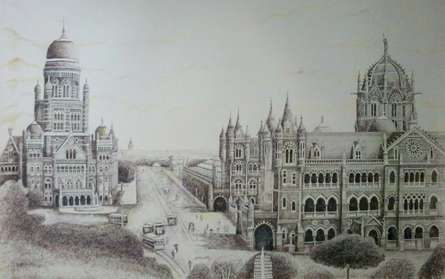 Panorama View of Bombay BMC building & Victoria Terminus (VT) | Drawing by artist Aman A | | ink | Canvas