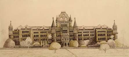 Cityscape Ink Art Drawing title 'Bombay High Court' by artist Aman A