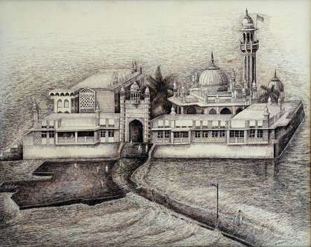 Ink Paintings | Drawing title Haji Ali Darga on Canvas | Artist Aman A