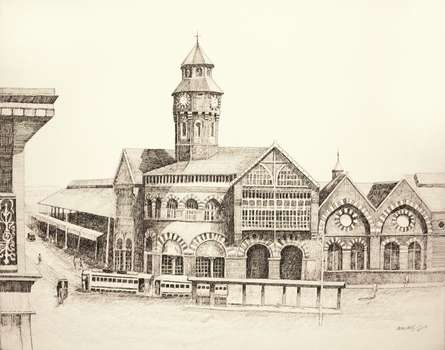 Ink Paintings | Drawing title Crawford Market on Canvas | Artist Aman A