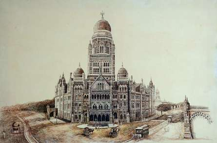 Old Bombay Municipalcorporation Bldg | Drawing by artist Aman A |  | ink | Canvas