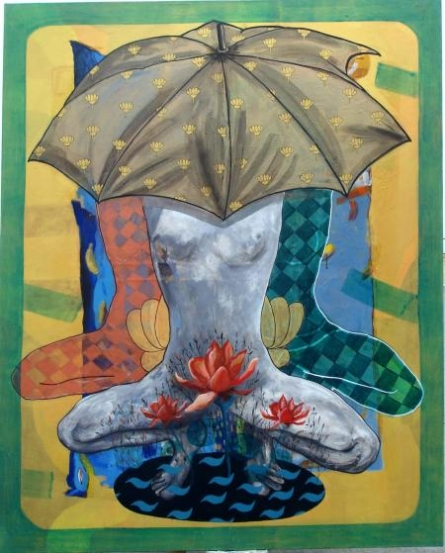 Deepak Kumar Ambuj | Acrylic Painting title Under The Shadow on Canvas | Artist Deepak Kumar Ambuj Gallery | ArtZolo.com