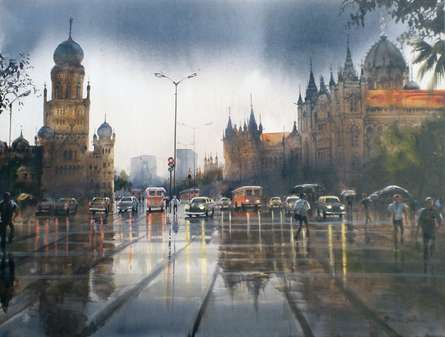 Cityscape Acrylic Art Painting title Mumbai After Shower I by artist Bhuwan Silhare