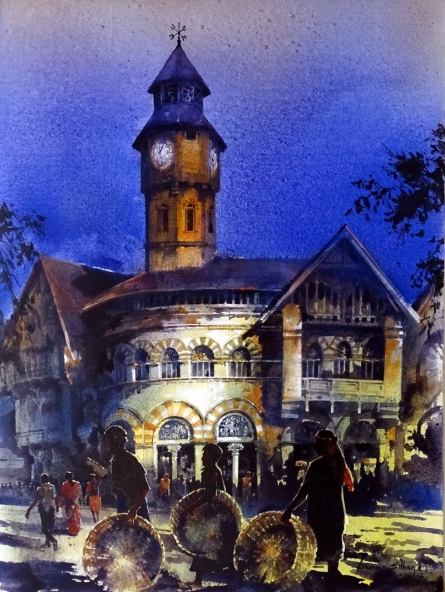 Cityscape Acrylic Art Painting title 'Crowford Market 12' by artist Bhuwan Silhare
