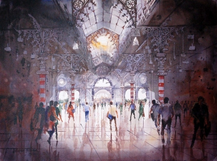 Cityscape Acrylic Art Painting title 'Light crowd action' by artist Bhuwan Silhare