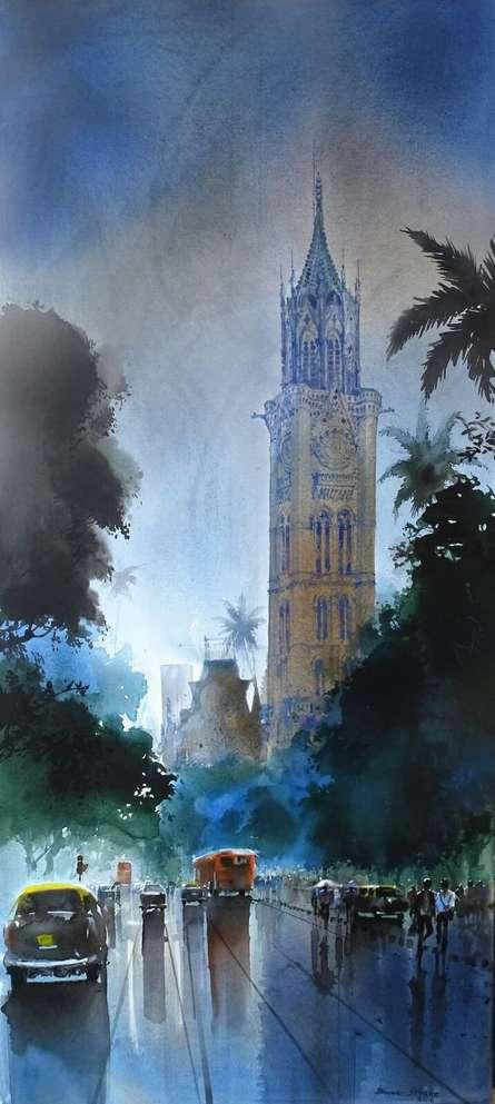 Cityscape Acrylic Art Painting title Mumbai by artist Bhuwan Silhare
