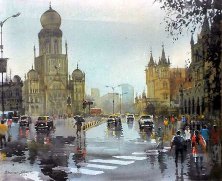 Bhuwan Silhare | Acrylic Painting title Mumbai After Shower II on Canvas | Artist Bhuwan Silhare Gallery | ArtZolo.com