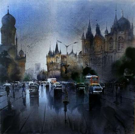 Mumbai After Shower | Painting by artist Bhuwan Silhare | acrylic | Canvas