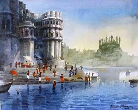 Landscape Acrylic Art Painting title 'Varanasi Ghat 38' by artist Bhuwan Silhare