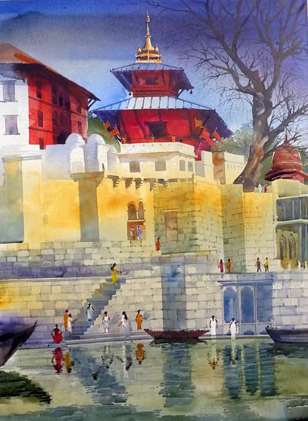 Cityscape Acrylic Art Painting title Banaras Ghat XI by artist Bhuwan Silhare