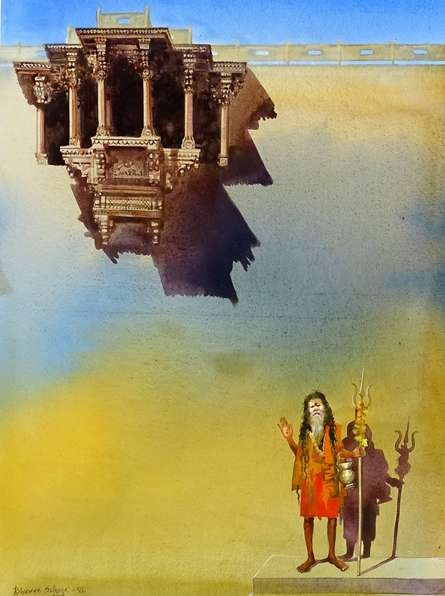 Cityscape Acrylic Art Painting title 'Banaras Ghat VI' by artist Bhuwan Silhare