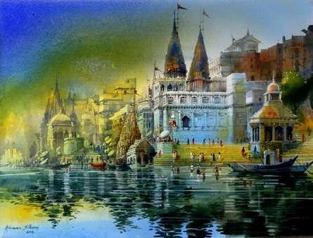 Bhuwan Silhare | Acrylic Painting title Banaras Ghat on Canvas | Artist Bhuwan Silhare Gallery | ArtZolo.com