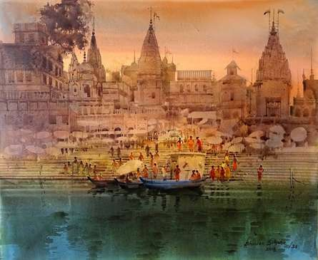 Landscape Acrylic Art Painting title 'Varanasi Ghat 36' by artist Bhuwan Silhare
