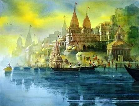 Landscape Acrylic Art Painting title Varanasi Ghat 37 by artist Bhuwan Silhare