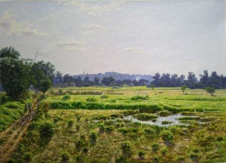 Realistic Oil Art Painting title 'Aare Mumbai' by artist Sanjay Sarfare