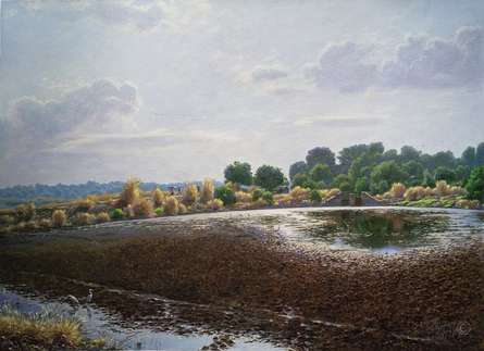 Landscape Oil Art Painting title 'Kalvat miraroad' by artist Sanjay Sarfare
