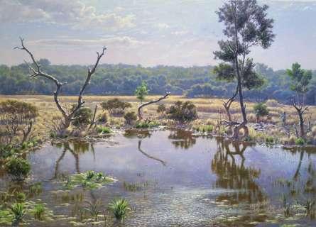 Landscape Oil Art Painting title 'Mangrov dahisar' by artist Sanjay Sarfare