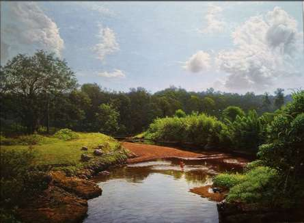 Landscape Oil Art Painting title 'My village stream' by artist Sanjay Sarfare