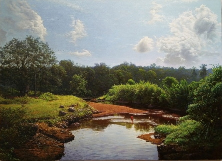 Realistic Oil Art Painting title 'My Village Stream 2' by artist Sanjay Sarfare