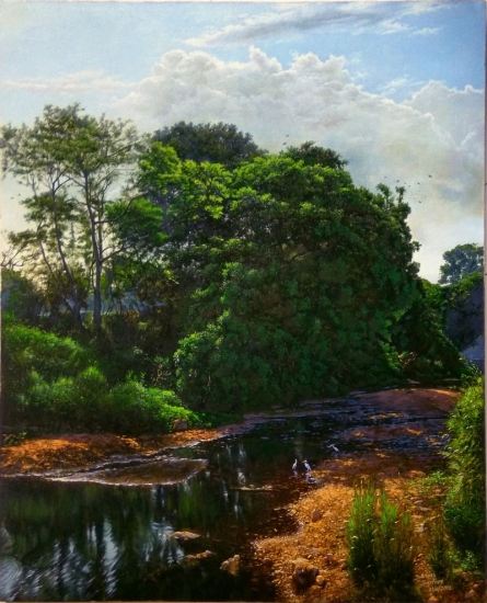 Realistic Oil Art Painting title 'National Park River' by artist Sanjay Sarfare