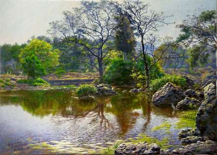 Realistic Oil Art Painting title 'Natoinal Park River 2' by artist Sanjay Sarfare