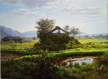 Realistic Oil Art Painting title 'Old Shade' by artist Sanjay Sarfare