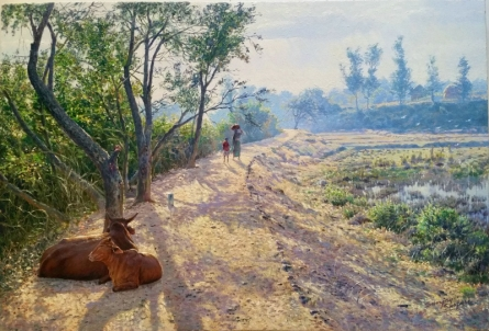 Realistic Oil Art Painting title 'Relaxing Pathside' by artist Sanjay Sarfare
