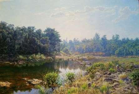 River Devrukh   Painting by artist Sanjay Sarfare   oil   Canvas