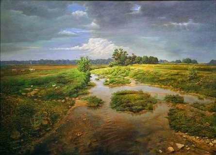 Realistic Oil Art Painting title 'Stream' by artist Sanjay Sarfare