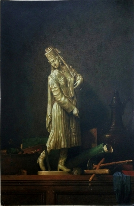 Womanstatue - with - chardin - postercolor - 29. | Painting by artist Sanjay Sarfare | postercolor | Handmade Mount Board