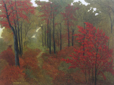 Nature Acrylic Art Painting title 'Forest Scape' by artist Shuvankar Maitra