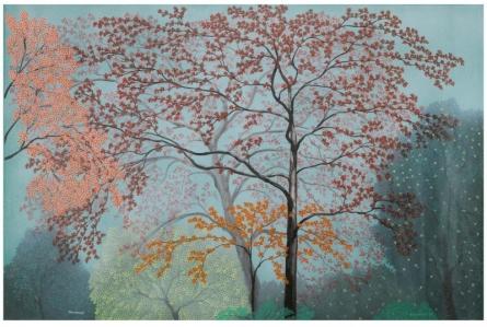 Landscape Acrylic Art Painting title 'Morning' by artist Shuvankar Maitra